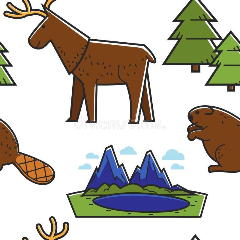 加拿大自然无缝的样式动物和风景旅行 库存例证