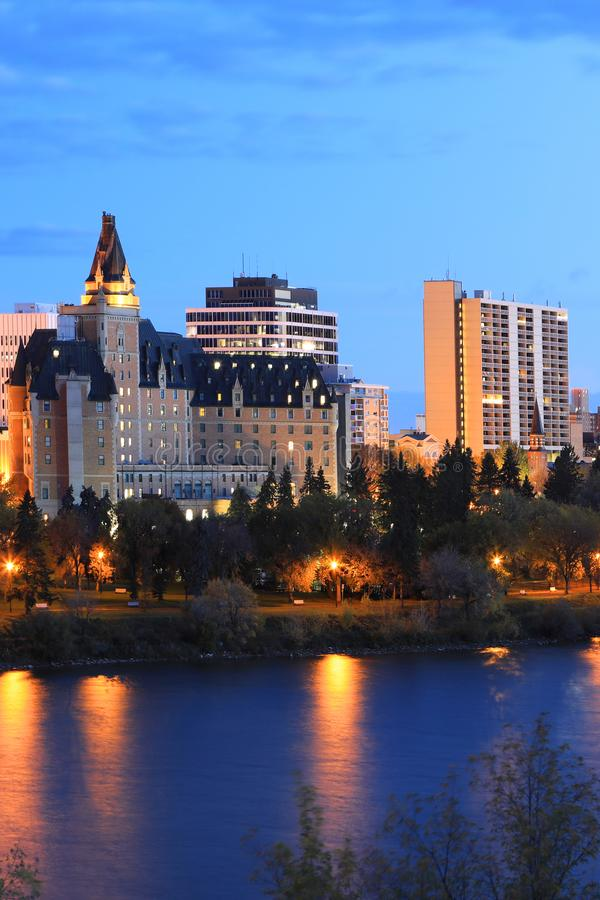 加拿大萨斯卡通市天际线 库存照片