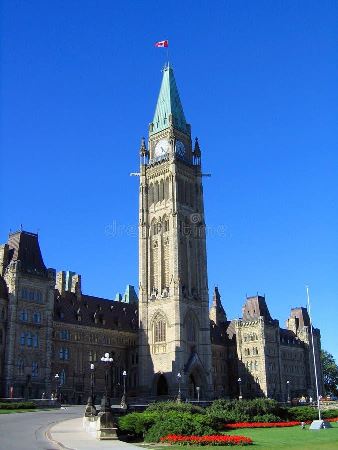 加拿大议会大厦尖沙咀钟楼在渥太华,安大略 免版税库存图片