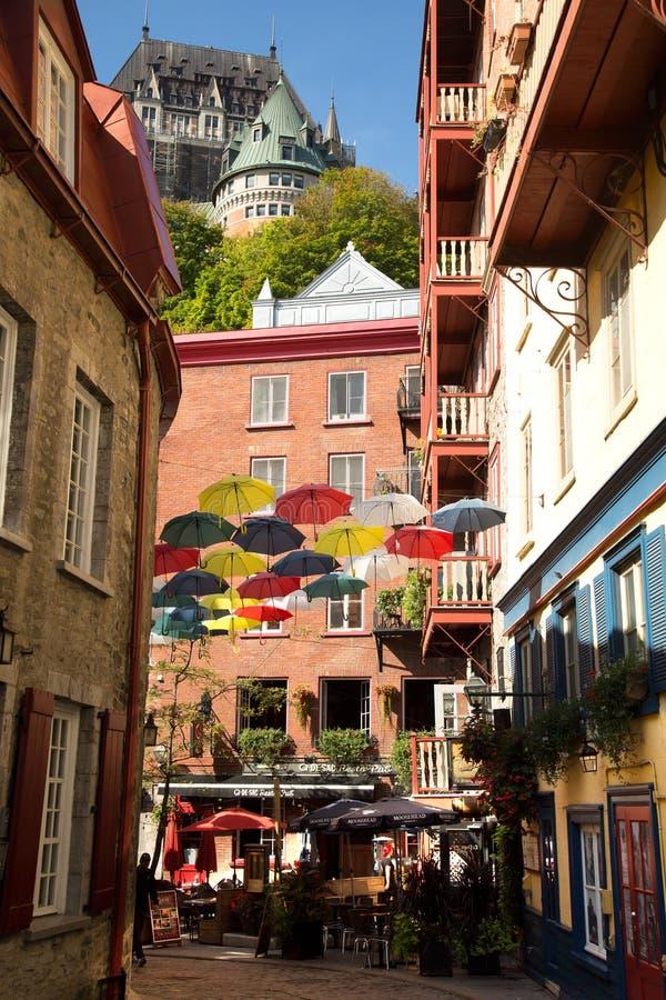 加拿大魁北克老城与弗朗特纳克城堡 免版税库存照片