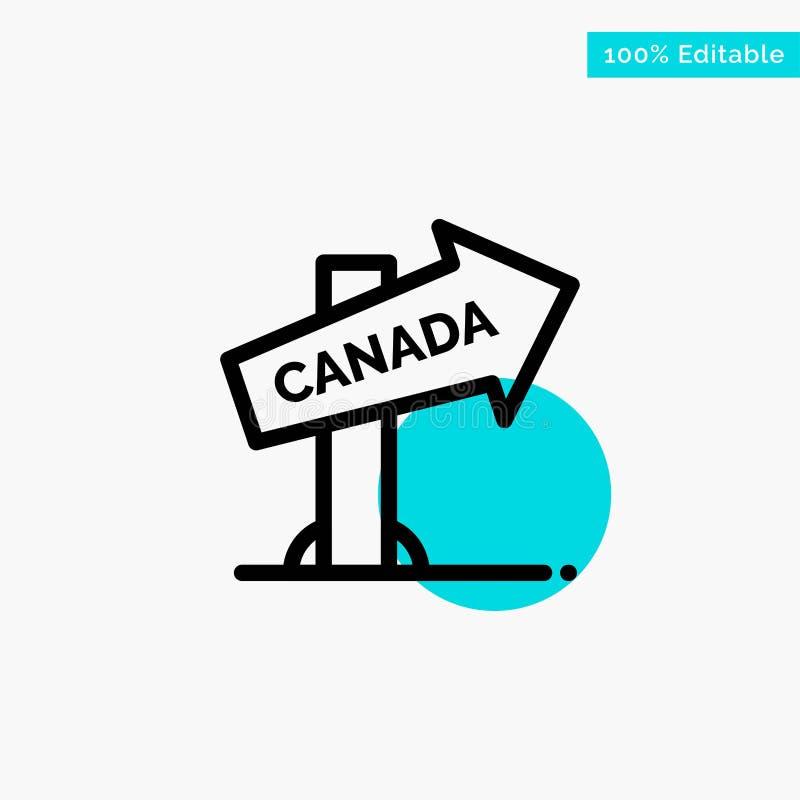加拿大,方向,地点,标志绿松石聚焦圈子点传染媒介象 向量例证