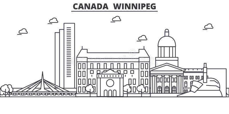 加拿大,温尼培建筑学线地平线例证 与著名地标的线性传染媒介都市风景,城市视域 皇族释放例证