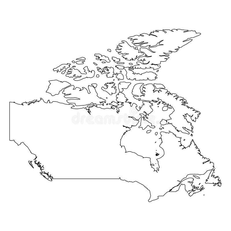 加拿大-国家区域坚实黑概述边界地图  简单的平的传染媒介例证 库存例证