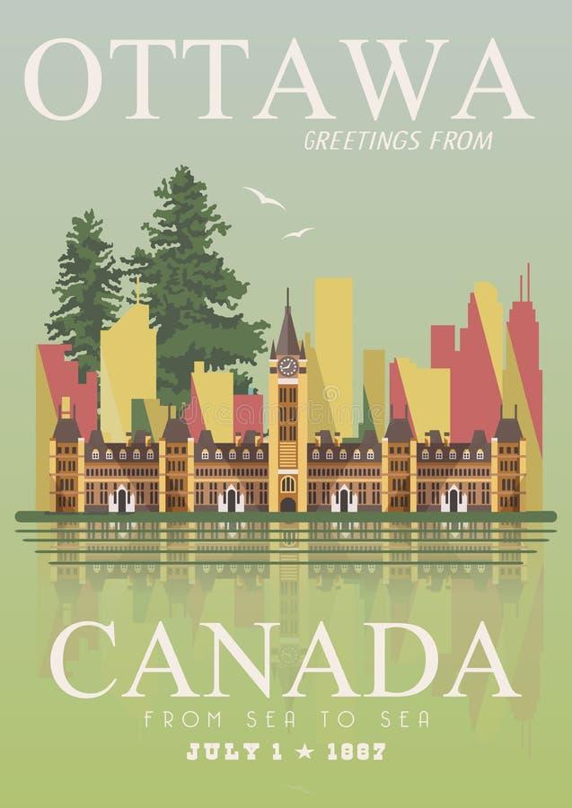 加拿大 渥太华 加拿大传染媒介例证 例证百合红色样式葡萄酒 旅行明信片 库存例证
