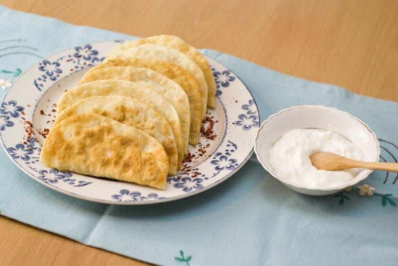 加料碎肉油煎的膳食饼鞑靼人酸奶 免版税图库摄影
