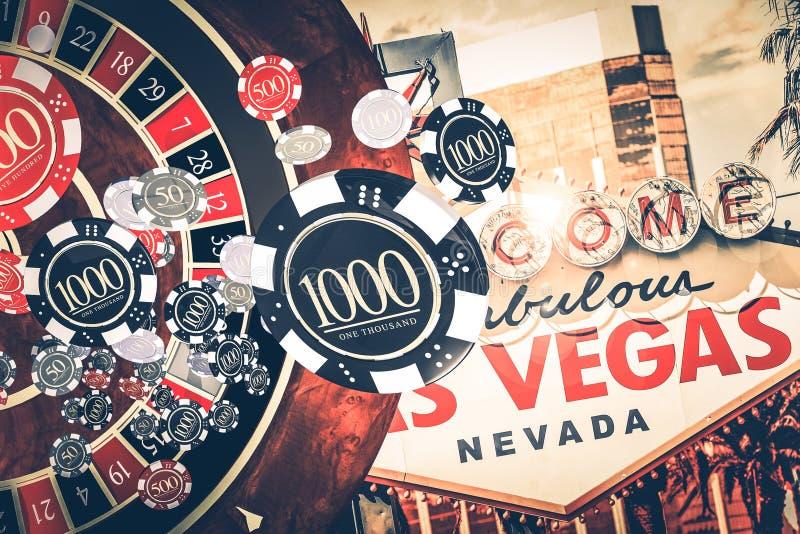 维加斯赌博娱乐场轮盘赌概念 库存例证