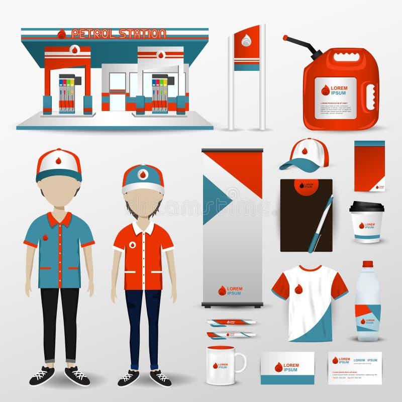 加油站企业雇员制服的品牌设计 向量例证