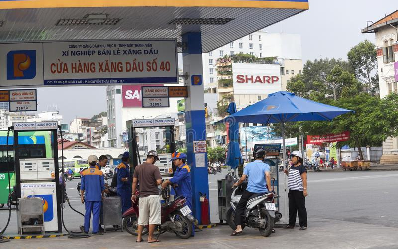 加油站在胡志明,越南 库存照片