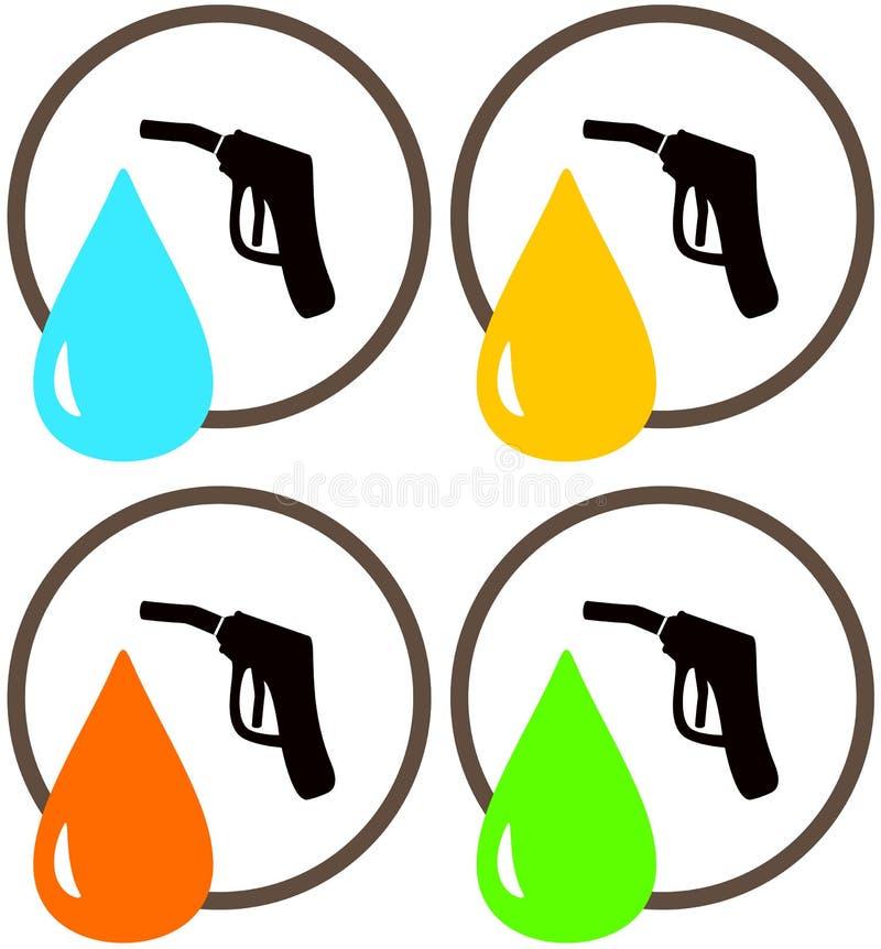 加油站枪与油和给加油下落的 向量例证