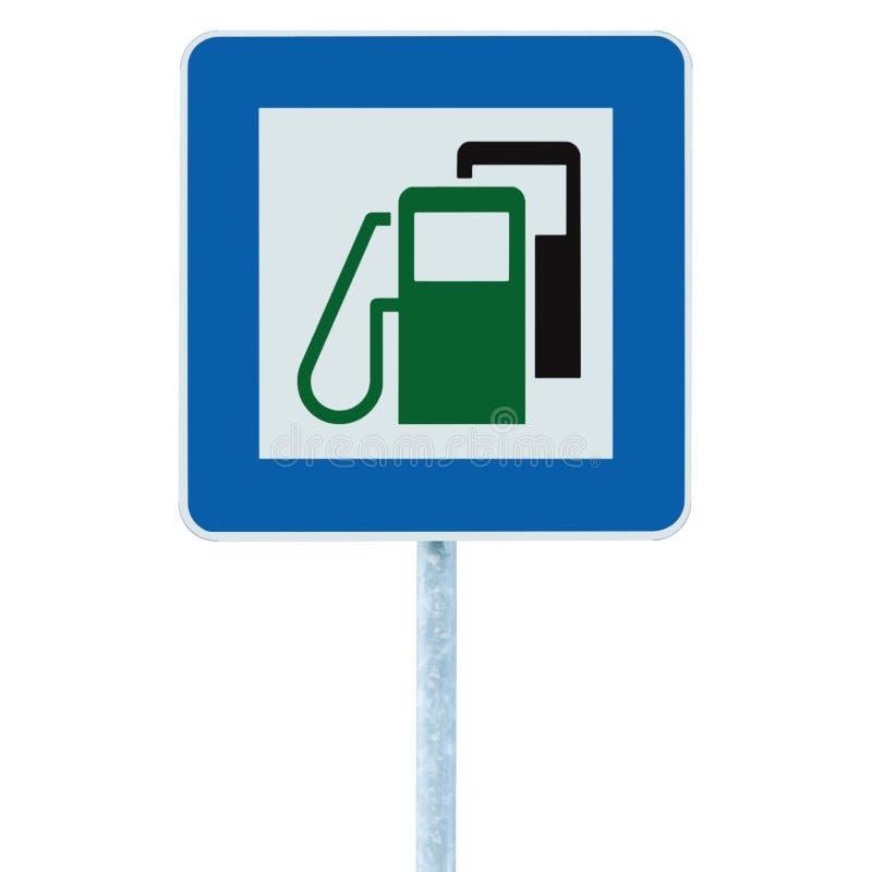 加油站路标,绿色能量概念,汽油燃料填装的交通服务路旁标志被隔绝的蓝色汽油汽油箱 免版税库存图片