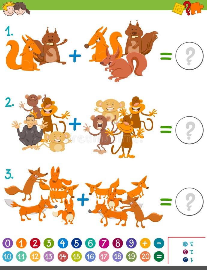 加法孩子的算术比赛 库存例证