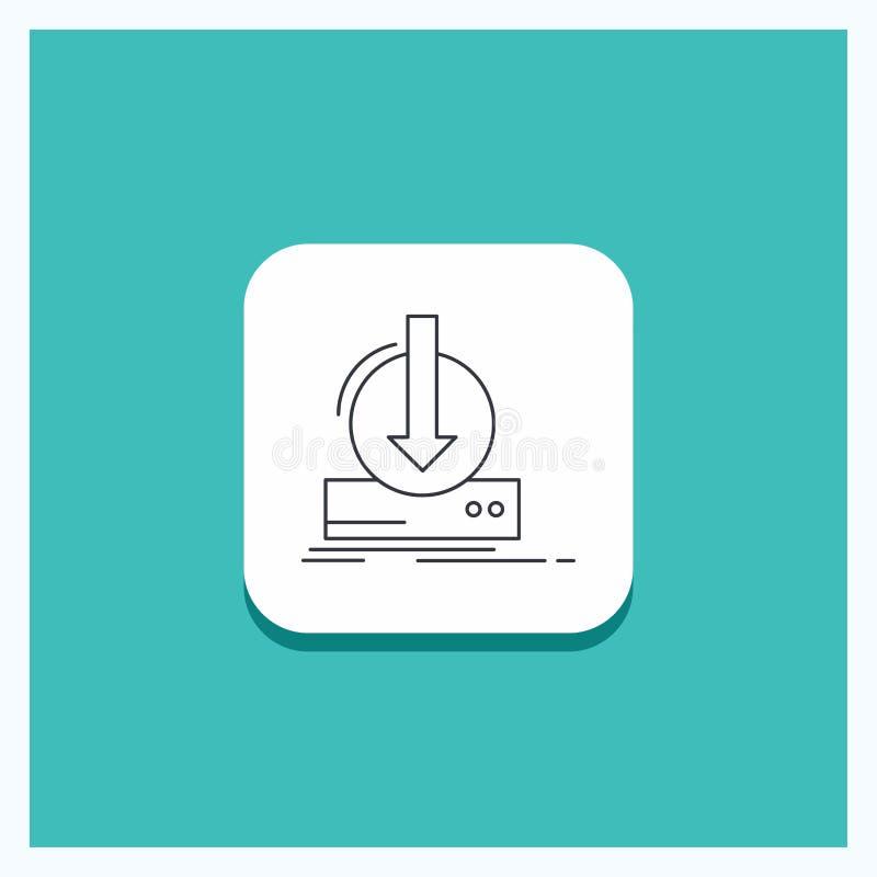 加法的,内容,dlc,下载,比赛线象绿松石背景圆的按钮 库存例证
