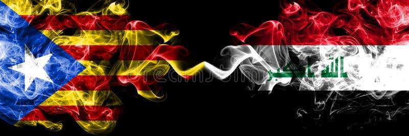 加泰罗尼亚对伊拉克,肩并肩被安置的伊拉克烟旗子 加泰罗尼亚和伊拉克的厚实的色的柔滑的烟旗子,伊拉克语 向量例证