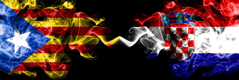 加泰罗尼亚对克罗地亚,肩并肩被安置的克罗地亚烟旗子 加泰罗尼亚和克罗地亚,克罗地亚人的厚实的色的柔滑的烟旗子 库存例证