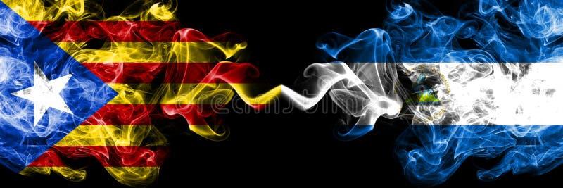 加泰罗尼亚对尼加拉瓜,肩并肩被安置的尼加拉瓜的烟旗子 加泰罗尼亚和尼加拉瓜的厚实的色的柔滑的烟旗子, 向量例证