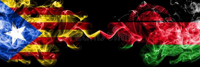 加泰罗尼亚对马拉维,肩并肩被安置的马拉维烟旗子 加泰罗尼亚和马拉维,马拉维的厚实的色的柔滑的烟旗子 向量例证