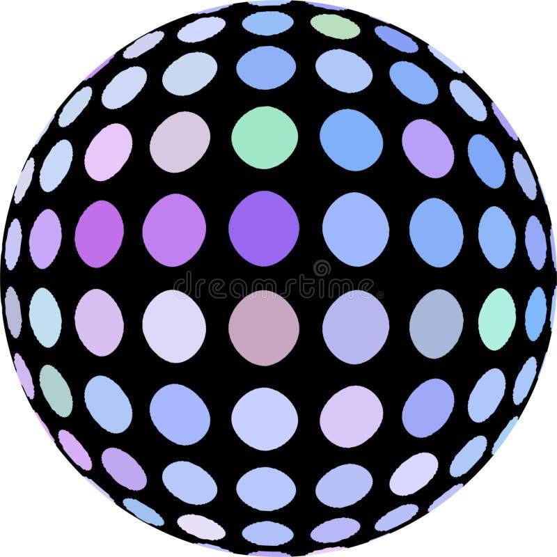 加点在黑3d在白色背景隔绝的球形宏观对象的蓝色丁香 向量例证