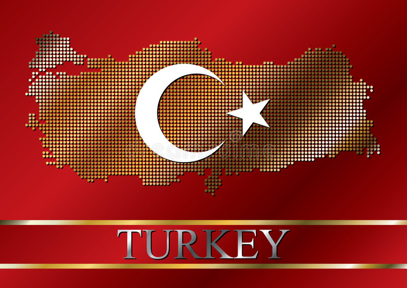 加点的标志映射土耳其 库存例证