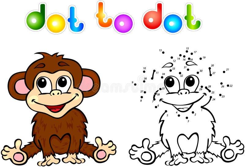 加点的滑稽的动画片猴子小点 皇族释放例证