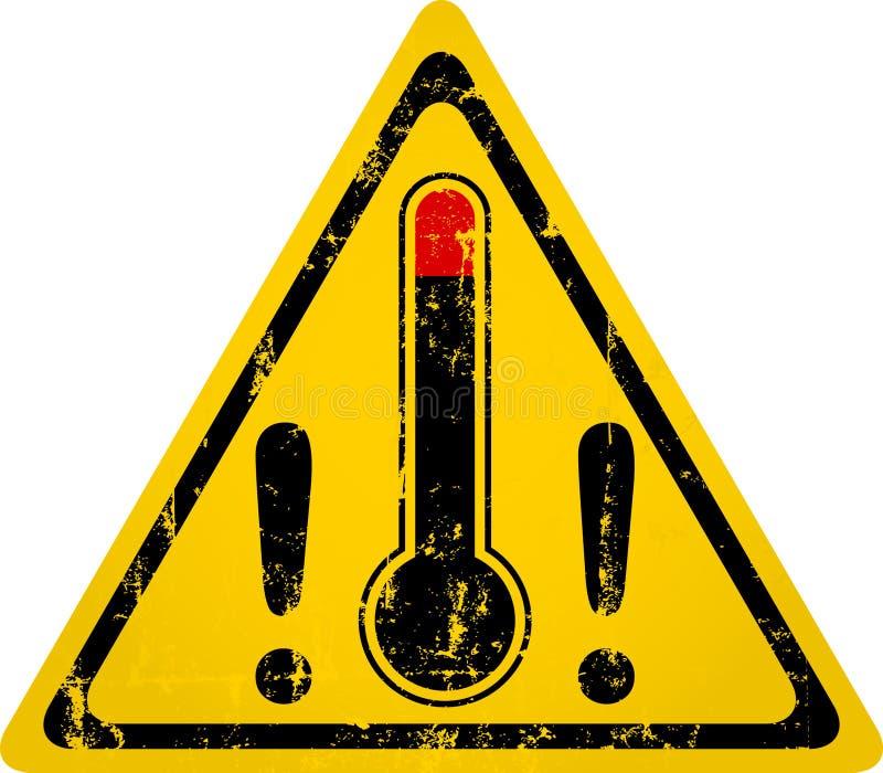 加热与温度计的警报信号,脏的样式传染媒介 库存例证