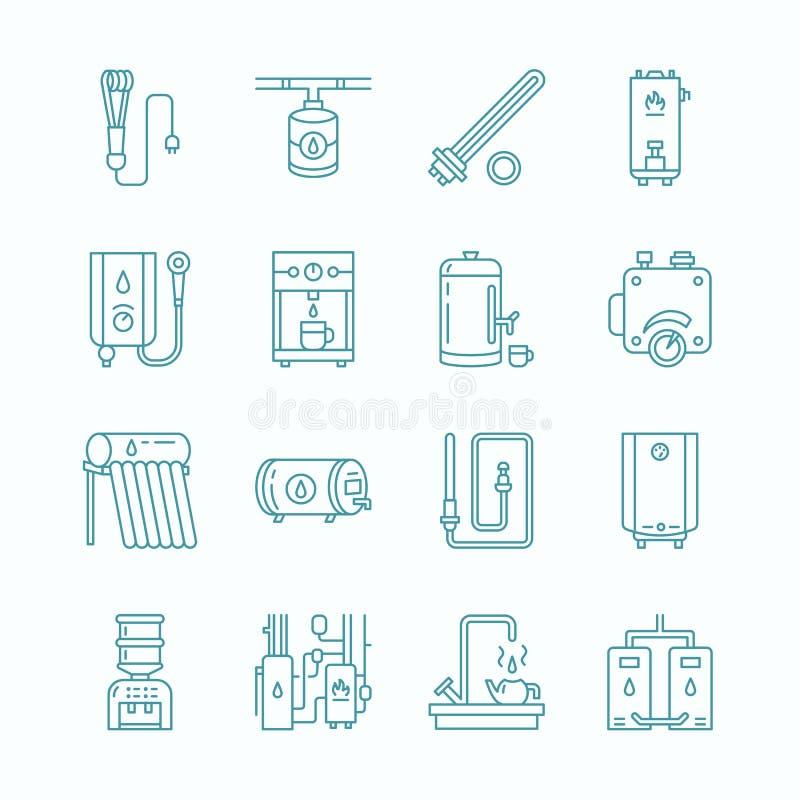 水加热器、锅炉,温箱,电,气体、太阳能加热器和其他房子供热设备排行象 稀薄线性 向量例证