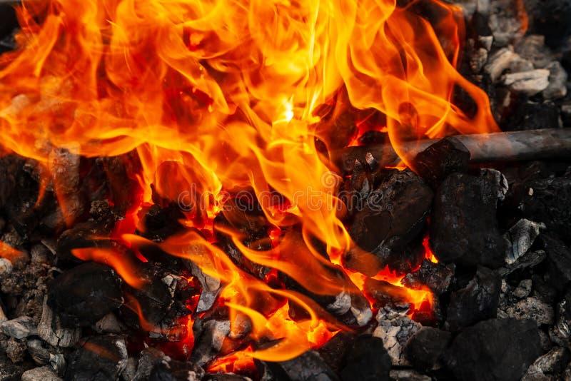 加热在煤炭的金属制件的过程进一步锻件的 库存照片