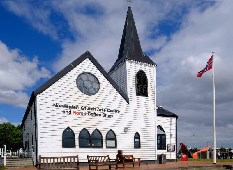 加的夫海湾,加的夫,威尔士- 2017年5月20日:挪威教会和 库存照片