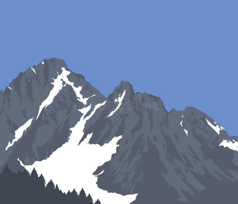 加盖的山雪 向量例证