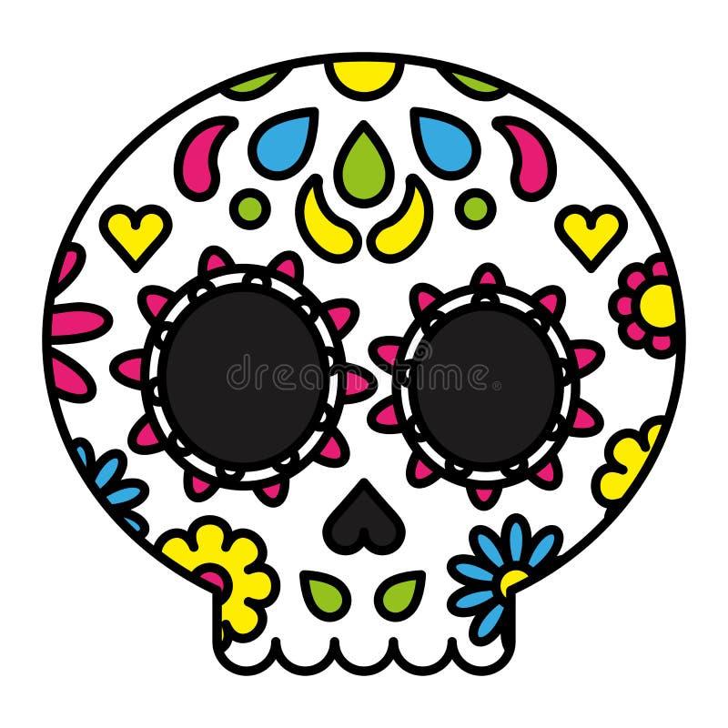 加糖死的概念的头骨五颜六色的花卉天 库存例证