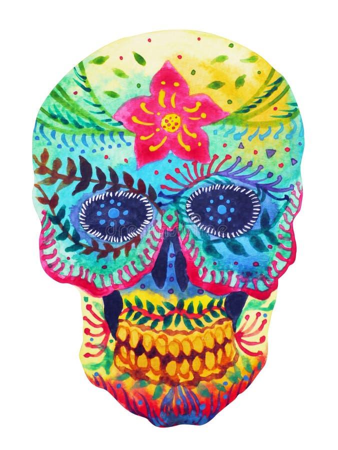 加糖死的人头水彩绘画的头骨天 皇族释放例证