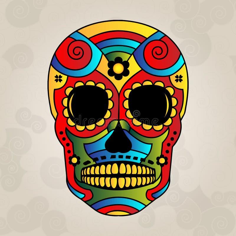 加糖头骨墨西哥,天死者-导航Illustrat 皇族释放例证