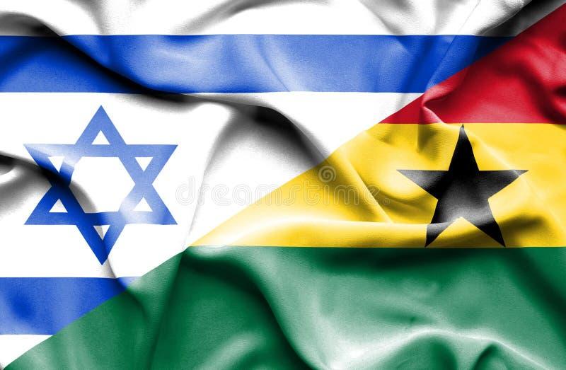加纳和以色列的挥动的旗子 皇族释放例证