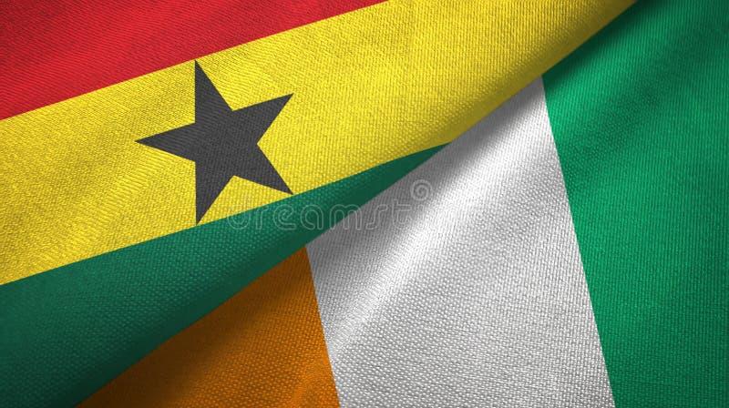 加纳和科特迪瓦象牙海岸两旗子织物纹理 向量例证