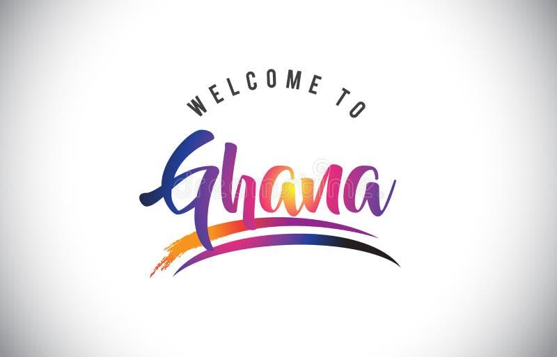 加纳欢迎到在紫色充满活力的现代颜色的消息 库存例证