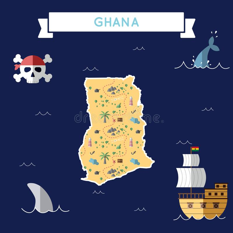 加纳的平的珍宝地图 库存例证