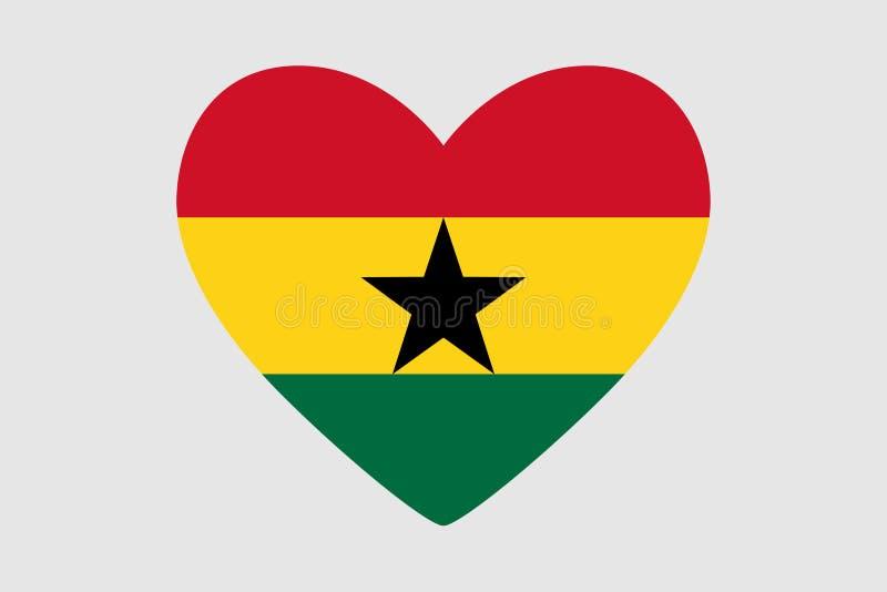 加纳的旗子的颜色的心脏, 向量例证