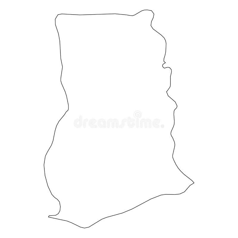 加纳-国家区域坚实黑概述边界地图  简单的平的传染媒介例证 皇族释放例证