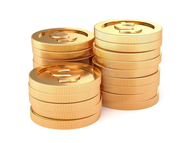 添加背景硬币金黄查出的栈文本到您的白色 皇族释放例证