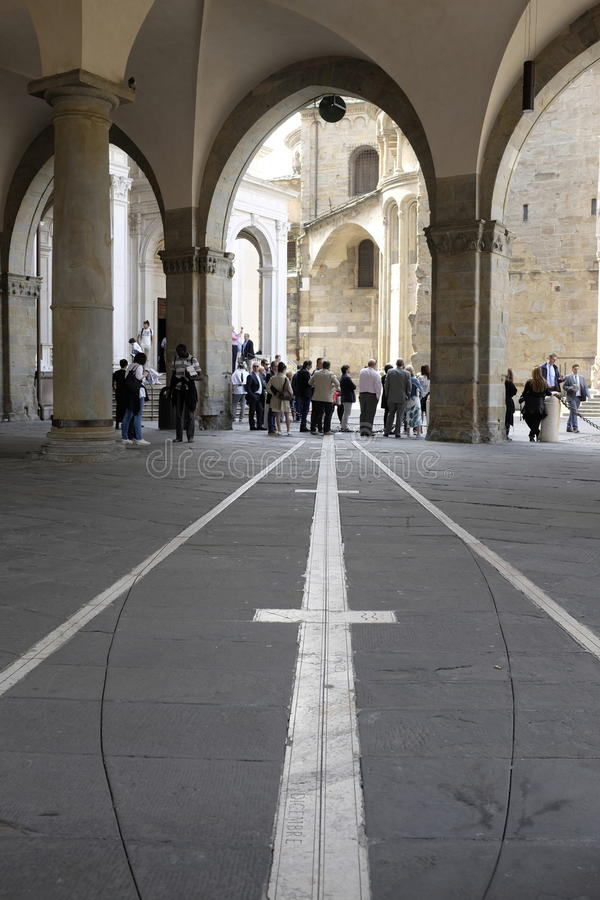 贝加莫, Palazzo della Ragione, Meridiana 库存图片
