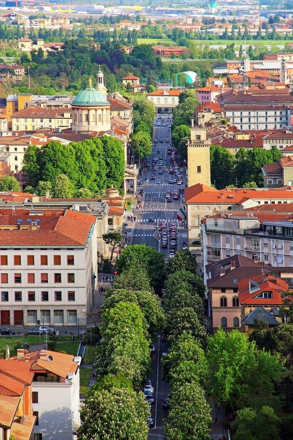 贝加莫更低的镇,意大利 免版税库存照片