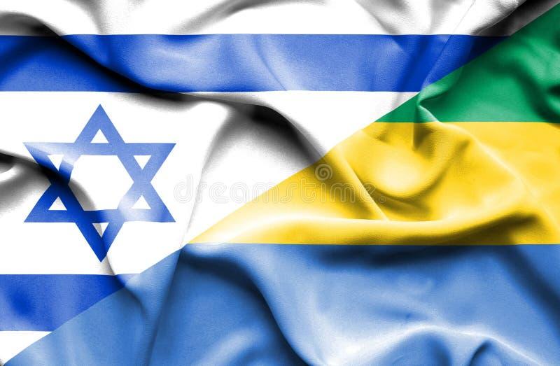 加蓬和以色列的挥动的旗子 皇族释放例证