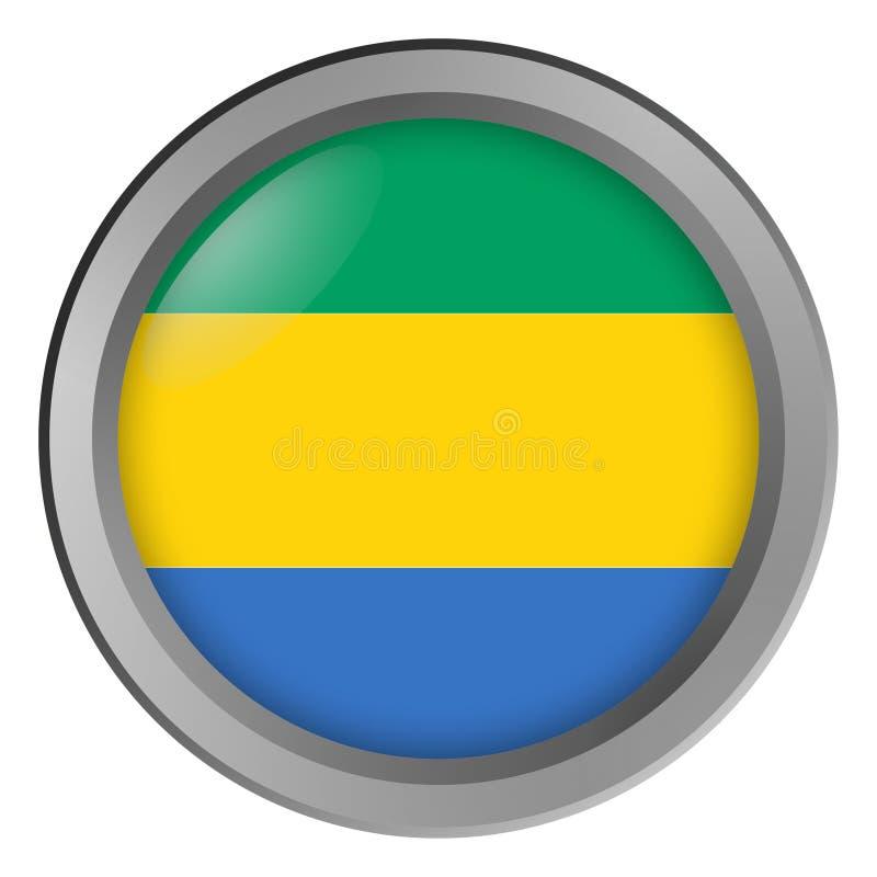 加蓬回合旗子作为按钮 向量例证