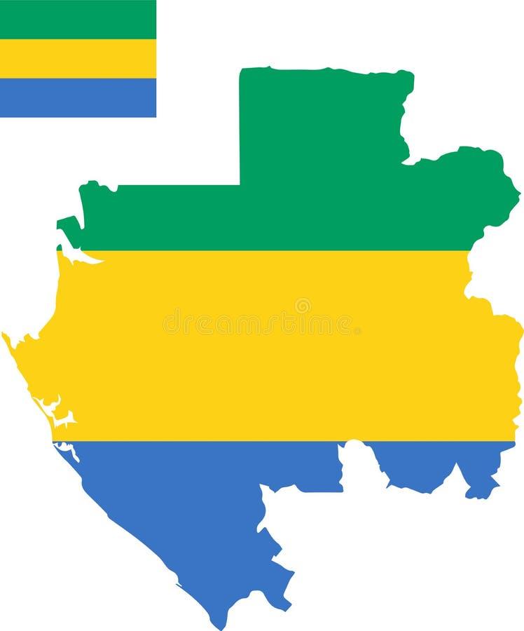 加蓬的传染媒介地图有旗子的 被隔绝的,白色背景 皇族释放例证
