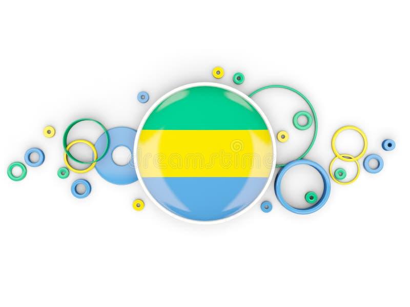 加蓬的圆的旗子有圈子样式的 向量例证