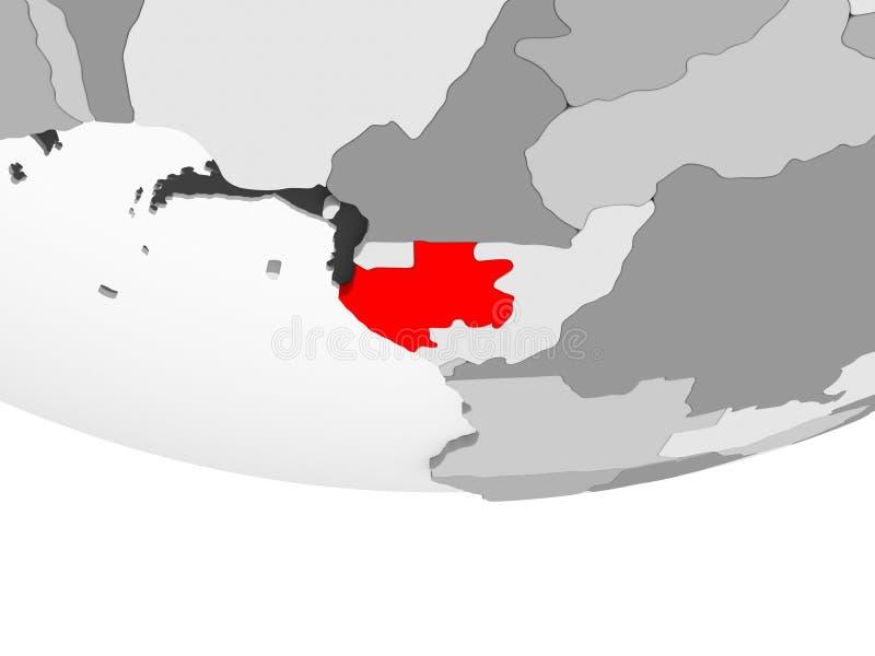 加蓬的地图灰色政治地球的 皇族释放例证