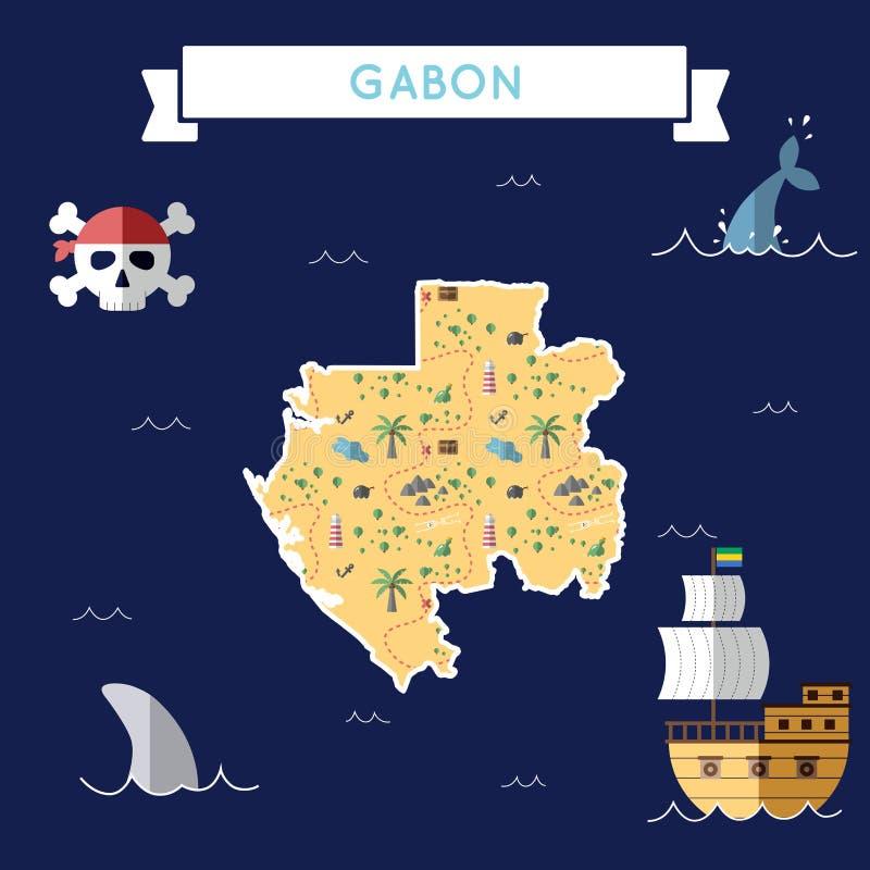 加蓬的平的珍宝地图 向量例证