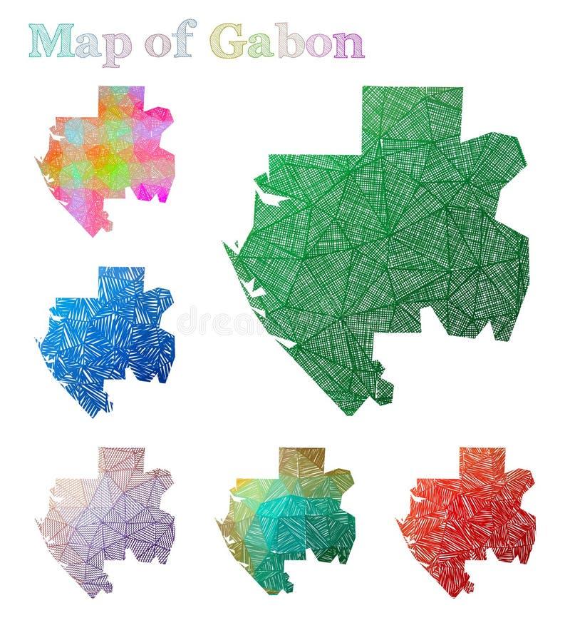 加蓬的手拉的地图 向量例证