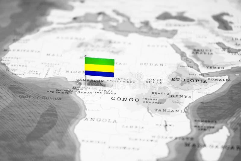 加蓬的旗子世界地图的 库存图片