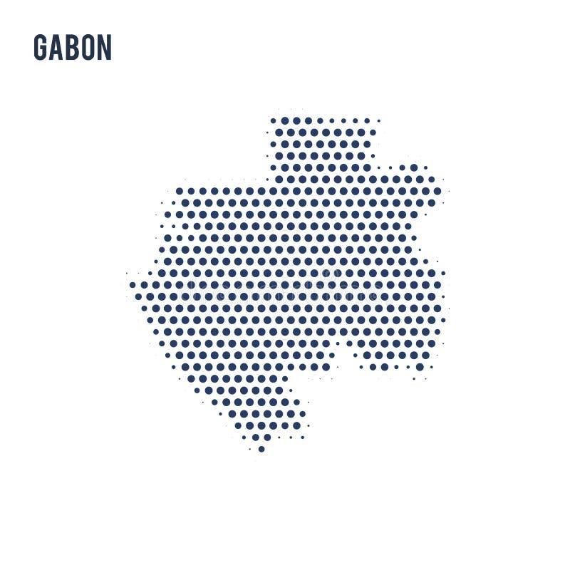 加蓬的被加点的地图在白色背景隔绝了 向量例证
