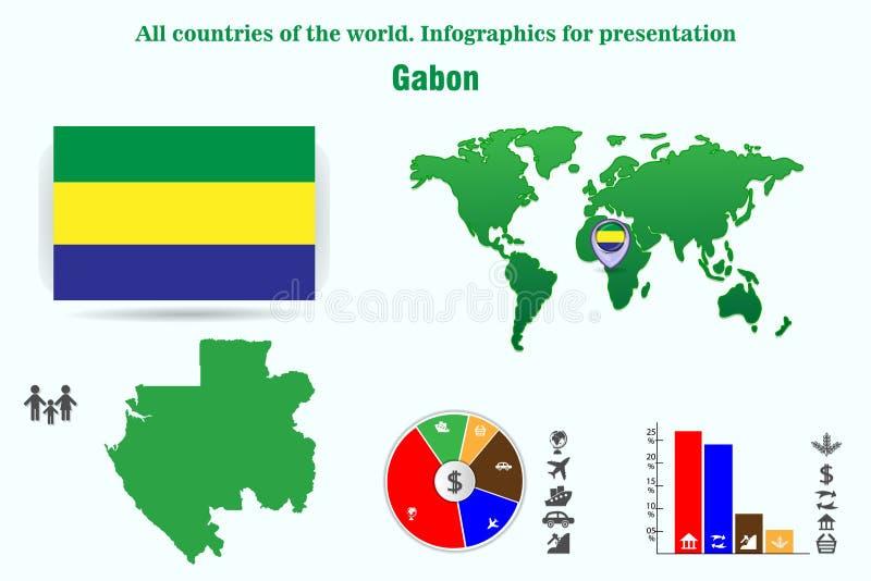 加蓬 世界的所有国家 介绍的Infographics 库存例证